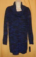 AB Studio women's royal blue black marbled ls cowl turtle neck sweater top M $50