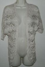 Women Pink Republic Crochet Ivory Solid 3/4 Sleeve Bolero Shrug Jacket XS
