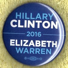 "2016 Hillary Clinton/Elizabeth Warren 2-1/4"" VP Hopeful Campaign Button (Pin 16)"