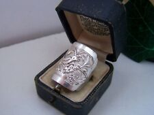 COLLECTIBLE VINTAGE STERLING SILVER CHINESE MIAO CARVED RING ADJUSTABLE R 8.5