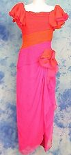 LiLLiE RUBiN 80s VtG COLOR BLOCK PiNK ORANGE RUCHED CHiFFON LEG SLiT GOWN DRESS