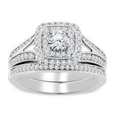 2.00ct Round Cut White Diamond 14k White Gold Finish Engagement Bridal Ring set
