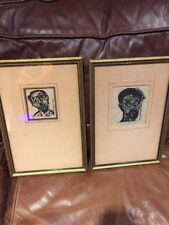 Rare Pair (2) of M. Levitt Signed Woodcut Jewish Holocaust Art Prints
