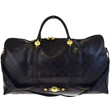 Auth VERSACE Logos 2Way Travel Shoulder Bag Rubber Leather Black Italy 32EA110