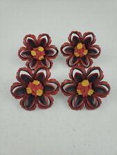 4 Vintage Metal Red Black & Yellow Flowers Curtain Tie Backs Push Pins Holders