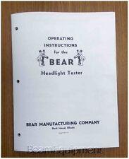 Bear Headlamp Tester Operating Instructions / Headlight Adjuster