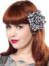 60115 Black & White Houndstooth Rose Hair Clip Sourpuss Rockabilly Pinup Flower