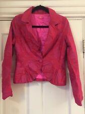 Oilily Blazer Coat Jacket Size 36 Pink 100% silk one button