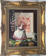 "Louis Adolphe Stritt (1886-1963) Original Oil  ""Figure (Saxe) et Gravure"""