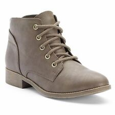 Candies Womens Lace-up Faux Leather Ankle BOOTS Sizes 7-10 Taupe or Black NWOB 10 Brown