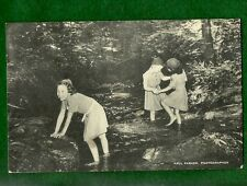 VINTAGE  GIRL SCOUT CAMP POSTCARD - ROCKWOOD - WADING IN THE BROOK