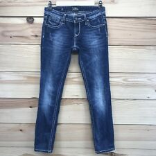 Rerock for Express Skinny Jeans 2 R Stretch Distressed Studs Contrast Stitch B64