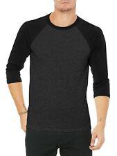 Mens Baseball RAGLAN T Shirts 3/4 Sleeve Tee Team Sport Jersey Solid Casual