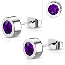 Edelstahl Ohrringe 6mm Ohrstecker Zirkonia Stainless steel earrings e-ebe156