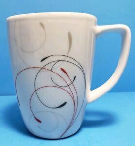 Corelle Splendor Vitrelle Mug Abstract White Artistic Black Red Swirl Porcelain
