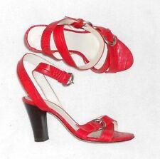 MINELLI sandales cuir façon reptile rouge P 37 TBE