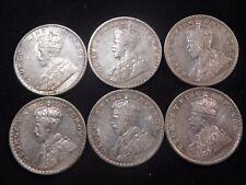 INV #S154 India British Rupee 1918 4 Pcs & 1919 2 Pcs Group 6 Pieces