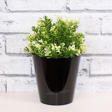 2 x 14cm Black Round Indoor Plant Flower Pots Vases Covers Planters Herb Troughs