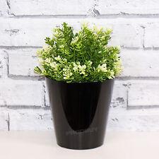 2 x 14cm rond noir indoor plant flower pots vases couvre planters herb bacs