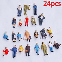 24Pcs HO Scale Seated Standing People 1:87 Figures Passenger Model Accessory