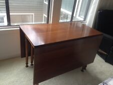 Antique Drop Leaf Dining Table Solid Wood Colonial