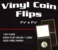 1000 2x2 Double Pocket Vinyl Coin Holders Flips  With Label Inserts  Mailers