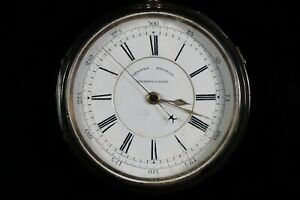 Silver Cased Big Chunky Chronograph Centre Second Pocket Watch Working 1889  AC6