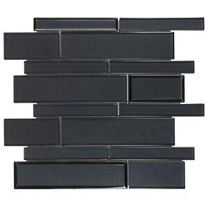 Modern Black Linear Glossy Glass Mosaic Tile MTO0459