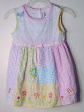 YOUNGLAND Size 24 Months Multi-Color Seersucker Sleeveless Checks Dress