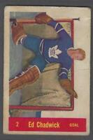 1957-58 Parkhurst Toronto Maple Leafs Hockey Card #T2 Ed Chadwick RC