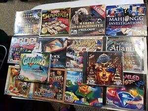 Lot of 14 PC games Rise Atlantis Luxor Mystery Quest Galapago Jewel Quest etc.