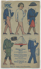 Uncut paper doll ad for Union Suits; Uncle Sam & other outfits