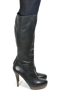 667 Stiefel Damenstiefel Plateau Schwarz Boots Sixty Zipper High Heels Leder 41