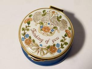 THINKING OF YOU 2 Doves & Flowers Staffordshire Enamels Trinket Box Boxed #10