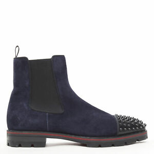 CHRISTIAN LOUBOUTIN Melon Spikes navy suede spike stud toe cap ankle boots EU44