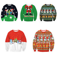 Mens Womens Novelty Christmas Sweater Retro Vintage Unisex Knitted Jumper Tops