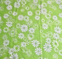 Vintage Pequot Pillowcase Pair Lime Green with White Daisies Muslin USA Flower