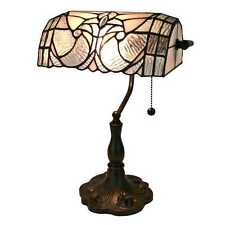 Banker's Office Desk Table Lamp Tiffany Style Stained Glass White Floral Shade