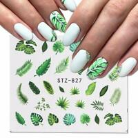Nail Art Water Decals Stickers Transfers Summer Tropical Palm Trees Leaf (827)