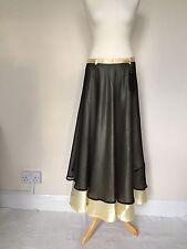 Divya Fashions Satin Chiffon Maxi Full Length Wrap Skirt Yellow Black Summer M