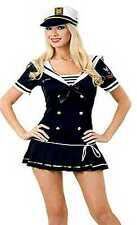 Ladies Navy Sailor Officer Girl Uniform Fancy Dress Costume 8 10 12 14 16