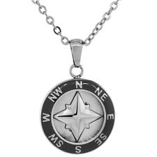 Stainless Steel Wheel Round Black Enamel Compass Pendant, Free Bead Ball Chain