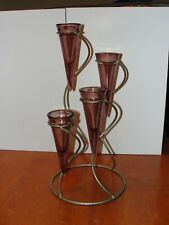 Vintage Large Mid Century Metal 4 Glass Cone Votive Candle Holder Candlestick