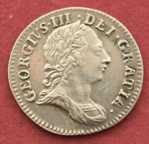NICE GRADE GEORGE III THREEPENCE 1762