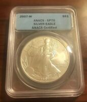 2007-W Burnished American $1 Silver Eagle ANACS SP70