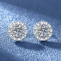 Fashion 925 Sterling Silver Stud Earrings Womens Sparkly Stones Studs Round Cut