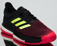adidas SoleCourt Boost Clay Men's New Black Yellow Red Tennis Shoes DB2691