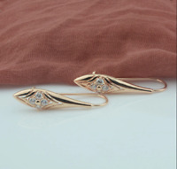 1.60Ct Round Cut Diamond Antique Drop & Dangle Earrings 14K Yellow Gold Finish