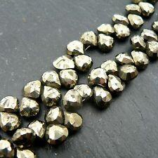 Pyrite Faceted Heart Briolette Beads (set of 10) Semi Precious Gemstone