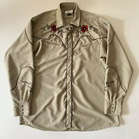 MWG Embroidered Red Rose Western Rockabilly Pearl Snap Shirt Large Vintage